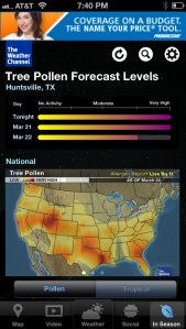 I now pay attention to Pollen Forecast Levels.